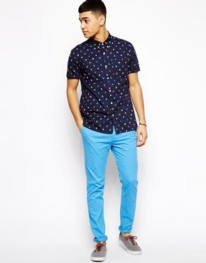 ASOS 水藍色 (skinny fit) 貼身版休閒褲 排扣 H&M ZARA cheap monday