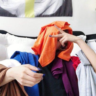 韓版ulzzang原宿寬松bf百搭純色半袖體恤圓領短袖T恤上衣學生