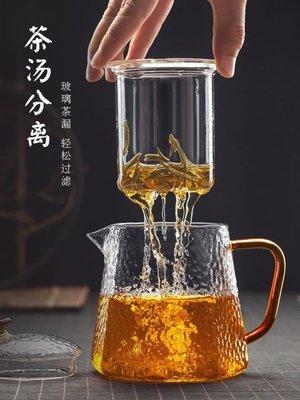 茶壺玻璃茶壺過濾泡茶壺家用耐高溫耐熱錘紋茶水分離泡茶器花茶具套裝  【友誼之家】