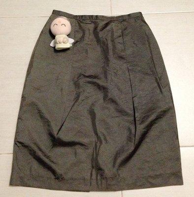 *金牛座*SAFARNY莎凡妮專櫃漂亮絲綢感及膝裙—L號--99元起標