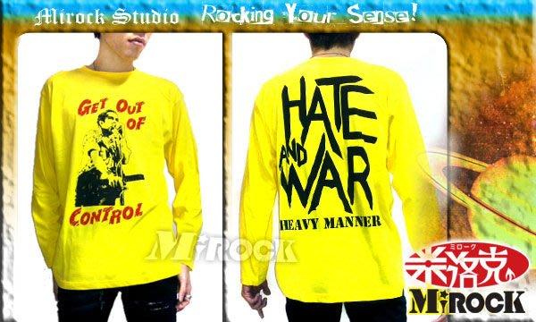 MIROCK米洛克》【特賣】日本SAVOY CLOTHING龐克搖滾樂團風英文字雙面亮黃色長袖棉質T恤~Rocker態度