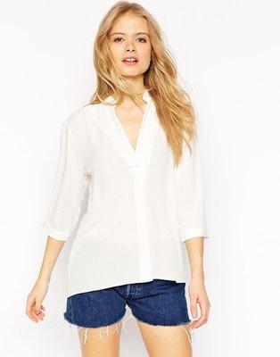 (嫻嫻屋) 英國ASOS 時尚名模Crinkle Tunic Top寬鬆造型白色襯衫上衣 現貨UK8 約會 牛仔褲