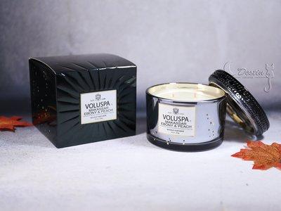 Voluspa 美國 香氛精油蠟燭 黑檀木甜桃 11 oz 玻璃質感瓶身 全新 精美包裝 雙芯