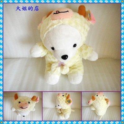 *大姐的店*可愛【穿黃色牛裝的 泰迪熊】填充玩具、絨毛玩偶、絨毛娃娃、絨毛玩具、裝飾擺設、造型布偶、禮物 。