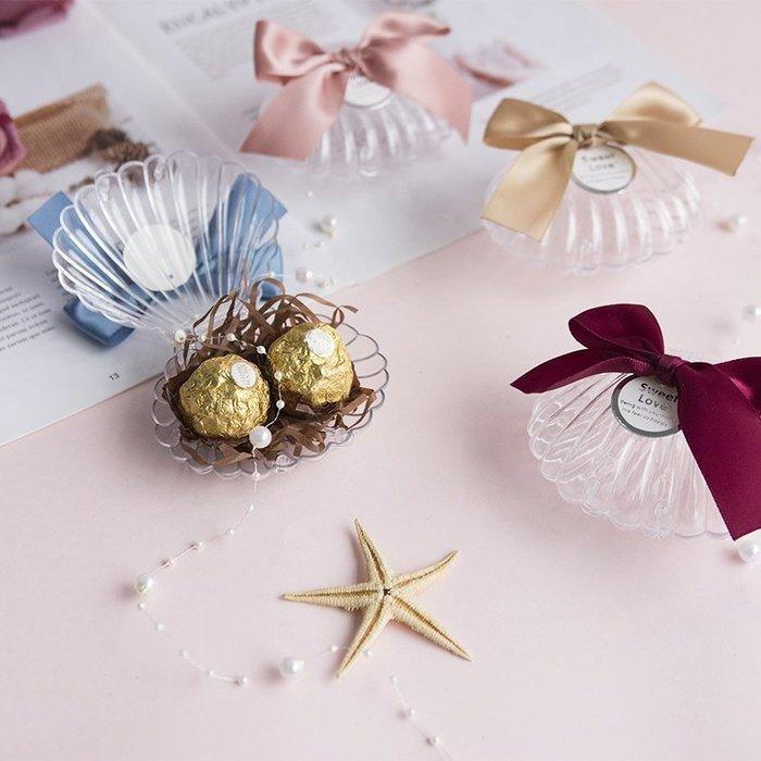 婚禮小物禮盒請帖邀請卡謝卡[白色貝殼]個性浪漫西式婚禮結婚喜糖盒戒指盒簡約款☆百變花 yang☆