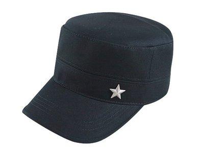 【二鹿帽飾】男帽女帽 -新潮流時尚新風格 /黑色 /一顆星. 硬挺 軍帽-MIT