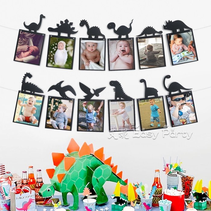 ◎艾妮 EasyParty ◎ 臺灣現貨【 恐龍 紙相框 】 生日派對 兒子生日 相框 男寶周歲 生日相框 恐龍派對布置