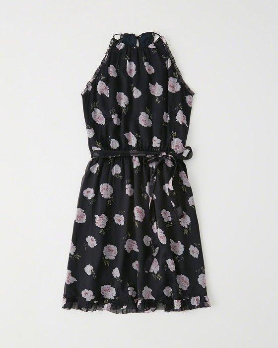 Maple麋鹿小舖 Abercrombie&Fitch * AF 深藍色花花細肩帶洋裝 * ( 現貨XS/S號 )