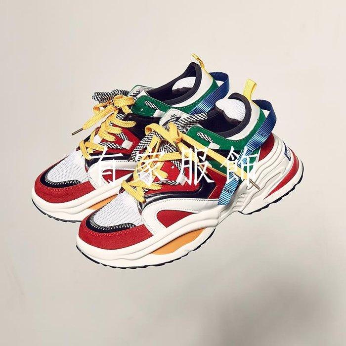 有家服飾MANSWAY秋冬新款潮牌拼色老爹鞋街頭男士運動休閒鞋ins超火的鞋子