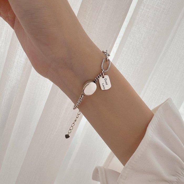 925純銀幸運泰銀手鍊女ins小眾設計學生復古手飾高級感冷淡風飾品