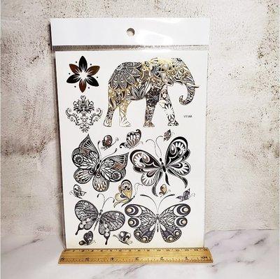 【萌古屋】燙金大象蝴蝶 - 男女防水紋身貼紙微刺青貼紙K20