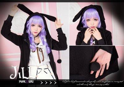 Oo吉兒oO【J2X1008B】日系可愛卡通蘿莉塔卡通羔羊毛呢連帽耳朵運動外套~ 魔幻布布小兔 lolita 黑