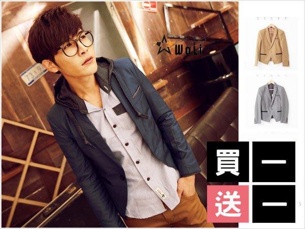 WaLi【F10077】韓版高質感合身窄版點點領巾造型緞面口袋單扣長袖西裝外套/小版男裝
