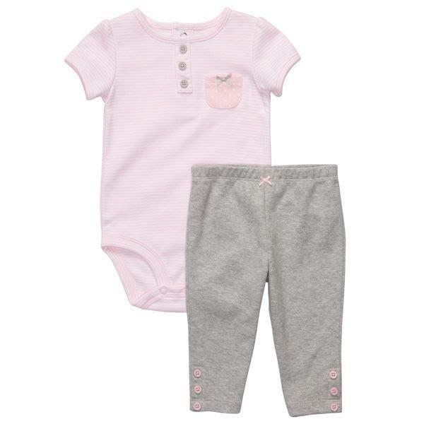 【Nichole歐美進口優質童裝】Carter's女童粉色條紋短袖包屁衣+長褲*另有Old Navy/OshKosh