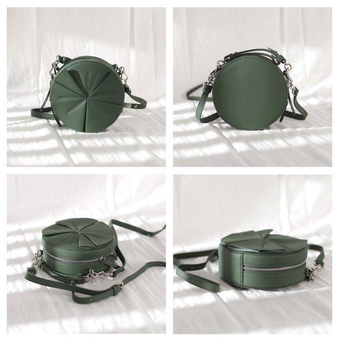 真皮仙女包綠單肩設計師品牌法國小眾復古牛皮圓形花朵少女斜挎包