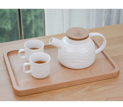 【自在坊】花草茶具 日式竹蓋花茶壺組 一壺四杯款 白瓷波浪造型 日式簡約風格 北歐優雅氣質 陶瓷茶壺 歐式茶具 下午茶