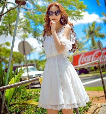 短袖挖肩洋裝白色大U領鑲蕾絲花邊雪紡紗短裙洋裝許願魔鏡@wishing Mirror-*-D16BDR340