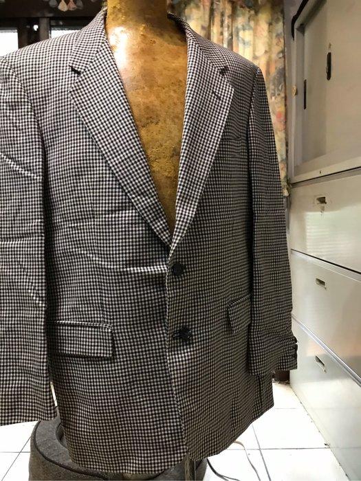 Marks n Spencer Wool size 52  格子布 單排 無吊牌 肩49cm腰110cm長78cm