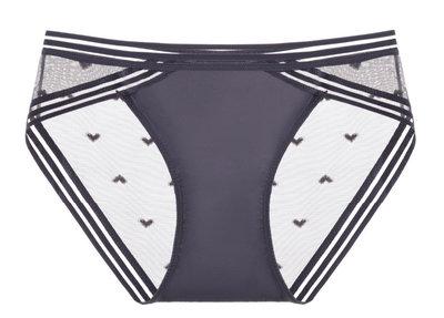 女內褲低腰三角短褲性感網紗透明超薄愛心學生提臀純色火辣誘惑-藍紫