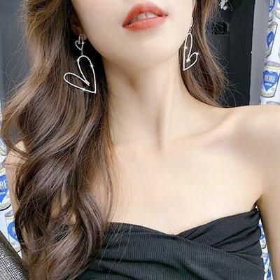 現貨 韓國時尚女神氣質跑趴誇張愛心水鑽925銀針垂墜耳環 K93580-2 批發價 Danica 韓系飾品 韓國連線