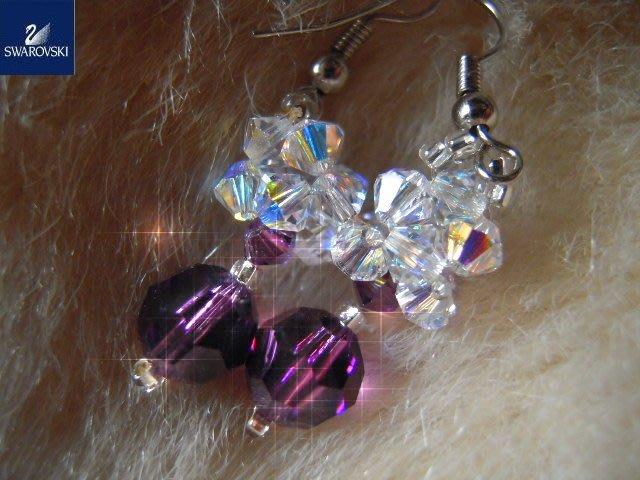 ※水晶玫瑰※ SWAROVSKI 地球珠水晶 耳勾式耳環(DD389)