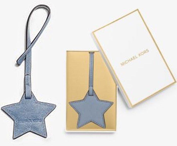 大降價!全新美國名牌 Michael Kors MK 淺藍色星星造型皮革製鑰匙圈掛飾吊飾,低價起標無底價!本商品免運費!