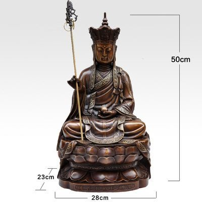 【凡了居】50厘米咖啡色 地藏王佛像純銅擺件全銅地藏菩薩銅像仿古供奉工藝品 雙福430