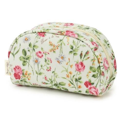 ~~凡爾賽生活精品~~全新日本進口白底粉紅色玫瑰花園半圓造型拉鍊小化妝包.收納包