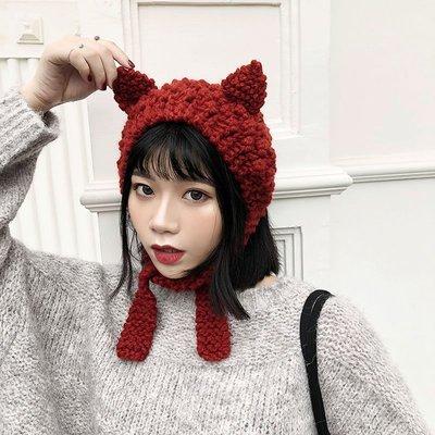 針織帽毛線帽毛帽秋冬韓版貓耳朵帽子女針織帽韓國潮可愛粗毛線帽ins護耳保暖時尚學生冬天