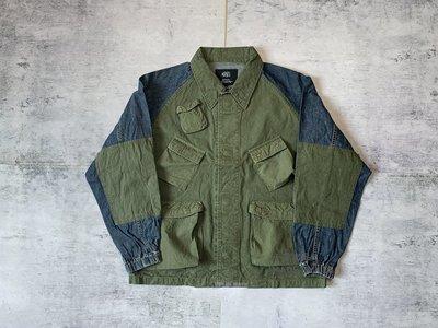 香港潮牌MADNESS DENIM RIPSTOP RECONSTRUCTED工装拼接牛仔外套夾克