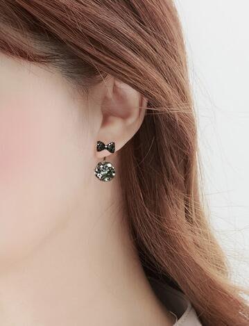 S925純銀蝴蝶結耳釘女氣質韓國個性簡約百搭網紅耳墜甜美耳環耳飾