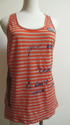 兔麻衣舖  設計師品牌 J&NINA 春夏時穿百搭橘色橫條削肩背心~11號