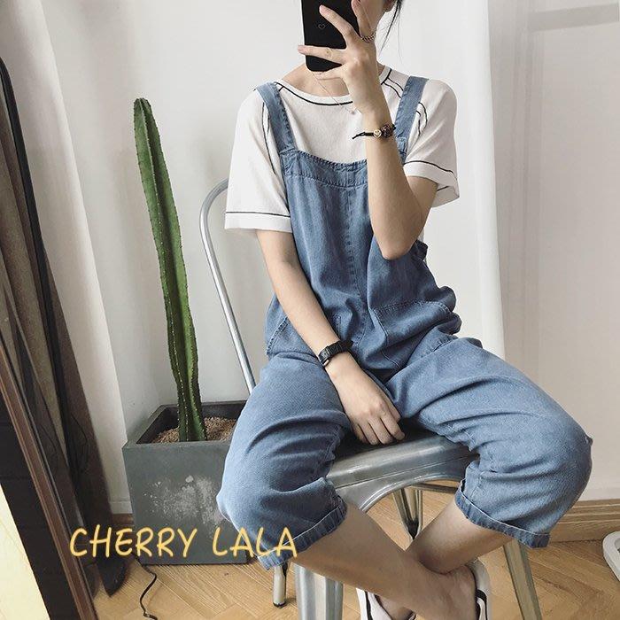 CHERRY LALA 韓。實拍。19夏。顯瘦寬鬆牛仔九分吊帶褲闊腿褲 PH1041