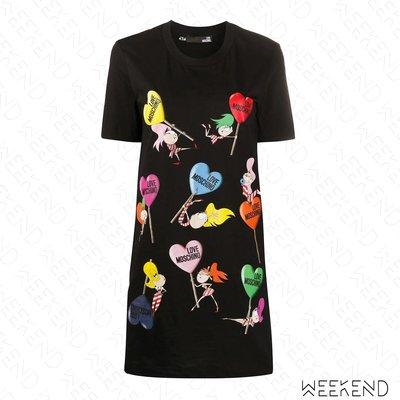 【WEEKEND】 LOVE MOSCHINO 印圖 長版 短袖 短洋 黑色