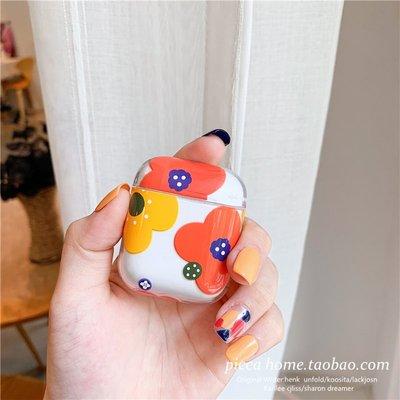 藍芽耳機airpods保護套 清新小花朵AirPods保護套蘋果防摔耳機套日韓新款個性創意女硬殼
