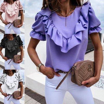 寶島小甜甜~Summer ruffled solid color round neck ladies shirt women紫色