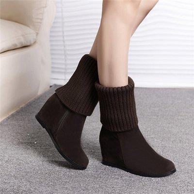 ~Linda~秋冬新款 一靴兩穿短靴長靴 磨砂內增高毛線女靴平底中筒雪地靴