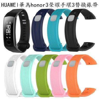 丁丁 HUAWEI 華為 Honor 3 榮耀手環3 豎條紋理繽紛炫彩智能手環矽膠錶帶 環保材質 佩戴柔軟舒適 替換腕帶