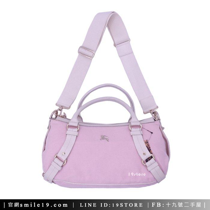 《十九號二手屋》BURBERRY 日本藍標 粉紅布料手提包 斜背兩用包