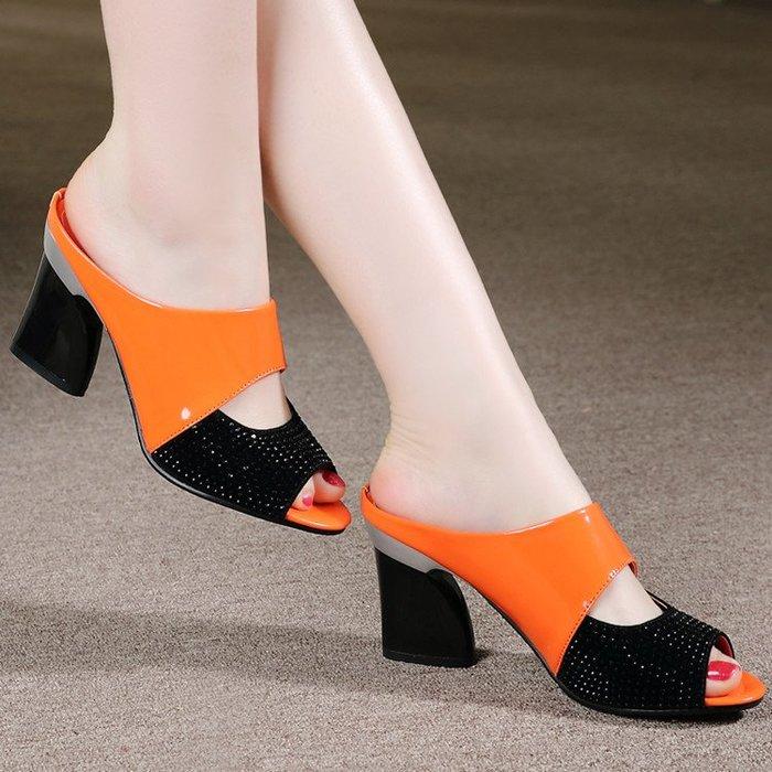 [C.M.平價精品館]34~42碼/優雅魚口配色鮮明舒適百搭個性粗跟鞋