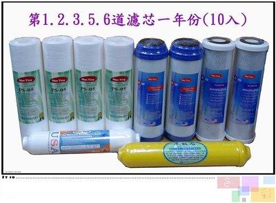 【NianYing 淨水】9.5英吋 RO逆滲透 淨水器通用濾芯一年分10支裝《第1.2.3.4.5道》