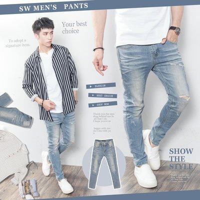 。SW。【K91550】正韓D.cr 韓國製 修身 觸感舒適 抽鬚破壞 古著淺色藍白刷紋 挺實彈性牛仔單寧褲 英倫 GD