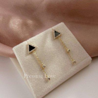 卡哇伊~Pressing Love黑色簡約氣質純銀三角形流蘇耳鍊超閃帶鉆14K金耳環