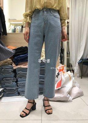 유학생 DAILYLOG 2019春季新款 WUA韓國東大門代購 顯瘦微喇舒適牛仔褲