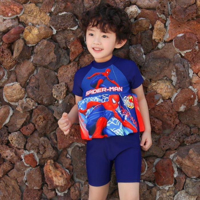 •*~ 辣媽咪衣飾小舖 ~*•❤泳裝系列 📣C550803可愛卡通兒童浮力泳衣(附泳帽)---蜘蛛俠