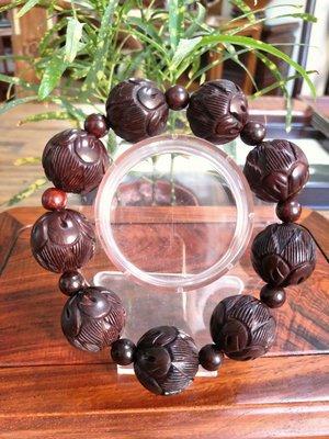 ॐ〘聖多羅〙印度小葉紫檀 手串~珠珠蓮花
