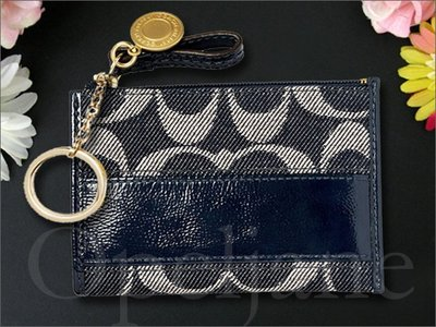 絕版款 COACH 41712 丹寧 單寧織布鑰匙包零錢皮包捷運卡悠遊卡車票夾信用卡夾非OUTLET貨 愛Coach包包