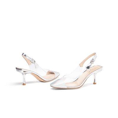 涼鞋ts蹀愫春新款蛇紋果凍鞋PVC字母膠片方頭高跟空鞋TA10168-10拖鞋