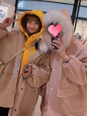 加厚工裝外套女2018中長款冬季新款韓版bf寬鬆大毛領棉衣棉服學生