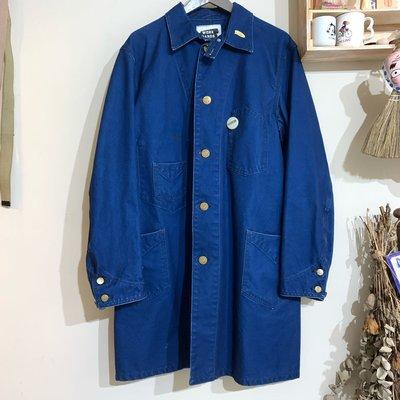 日本製 BEAMS WORK HANDS SUGAR CANE 重磅 工裝 shop coat 長版 藍染 工作服 大衣 丹寧外套 長外套 復古 丹寧